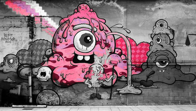 Graffiti Piazza Mercato by Buff Monster